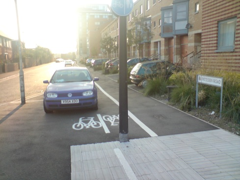 Car parked on a shared-use footway